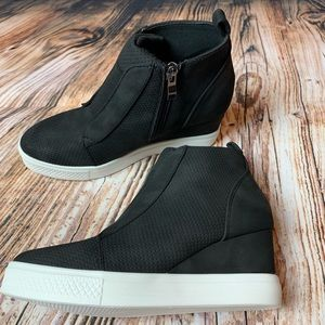 Shoes - Black Faux Suede Wedge Sneakers
